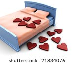 3d illustration of bed with stylized hearts over white background - stock photo