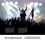 politician before audience at... | Shutterstock .eps vector #218343325