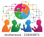 social media circles  network... | Shutterstock .eps vector #218343871