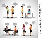 business people with speech...   Shutterstock .eps vector #218343895