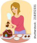 illustration featuring a girl... | Shutterstock .eps vector #218352331
