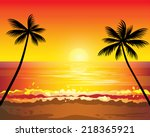 Sunset Ocean Summer Beach With...
