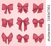 set of pink gift bows with... | Shutterstock .eps vector #218367301