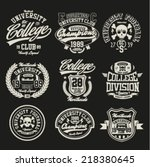 varsity college vector label... | Shutterstock .eps vector #218380645