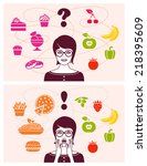 woman making decision between... | Shutterstock .eps vector #218395609