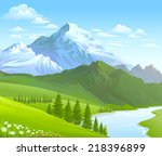 snow  mountain and river... | Shutterstock .eps vector #218396899