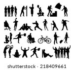 Collage Of Silhouette People...