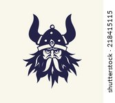 ancient viking head emblem for... | Shutterstock .eps vector #218415115