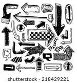 set of arrows  hand drawn... | Shutterstock . vector #218429221