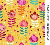 pomegranate seamless pattern | Shutterstock .eps vector #218431981