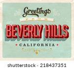 vintage touristic greeting card ... | Shutterstock . vector #218437351