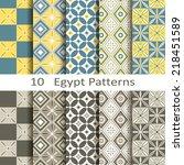 set of ten egypt patterns | Shutterstock .eps vector #218451589