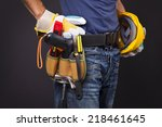 close up of a worker with... | Shutterstock . vector #218461645