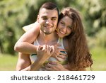 smiling young girl and her... | Shutterstock . vector #218461729