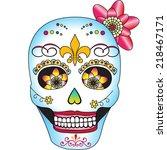 sugar skull lady | Shutterstock .eps vector #218467171