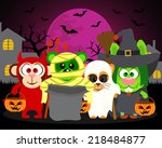 trick or treat animals in... | Shutterstock .eps vector #218484877