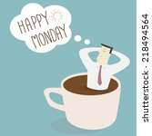 businessman thinking happy... | Shutterstock .eps vector #218494564