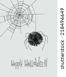 spider and spider web hand...   Shutterstock .eps vector #218496649