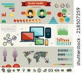 social network infographics set.... | Shutterstock .eps vector #218507359
