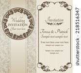 antique baroque wedding... | Shutterstock .eps vector #218516347