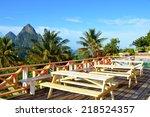 nice little hotel resort at the ... | Shutterstock . vector #218524357