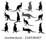 kangaroo vector silhouette set  ... | Shutterstock .eps vector #218538307