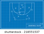 image of basketball tactic on... | Shutterstock .eps vector #218551537