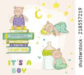 cute bear set. for baby shower... | Shutterstock .eps vector #218557219