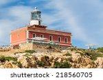 lighthouse capo spartivento.... | Shutterstock . vector #218560705