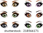 Set Of Manga  Anime Style Eyes...