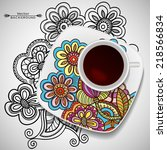 vector coffee concept   a cup... | Shutterstock .eps vector #218566834
