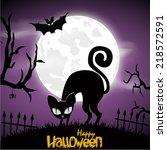 happy halloween poster. vector... | Shutterstock .eps vector #218572591