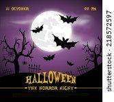 happy halloween poster. vector... | Shutterstock .eps vector #218572597