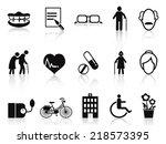 elderly and senior icons set | Shutterstock .eps vector #218573395