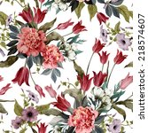 seamless floral pattern with... | Shutterstock . vector #218574607