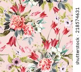 Stock photo seamless floral pattern with tulips and peonies on light background watercolor 218574631