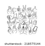 hands.gestures. hand drawn... | Shutterstock .eps vector #218575144