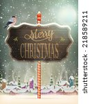 christmas vintage greeting card ... | Shutterstock .eps vector #218589211