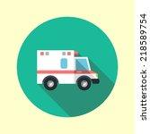 Ambulance Car Long Shadow Flat...