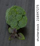 fresh broccoli on the desk | Shutterstock . vector #218597275