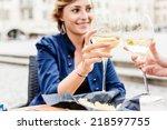 Women Drinking An Aperitif In ...
