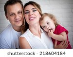 portrait of happy family ... | Shutterstock . vector #218604184