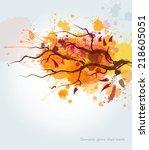 watercolor autumn tree...   Shutterstock .eps vector #218605051