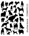 dogs silhouettes set | Shutterstock .eps vector #218605111