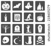 vector set of halloween icons | Shutterstock .eps vector #218605279