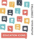 set of education icons in flat... | Shutterstock .eps vector #218607061