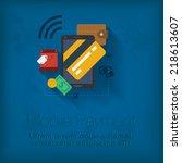vector mobile payment concept... | Shutterstock .eps vector #218613607