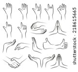 hand vector collection on white ... | Shutterstock .eps vector #218615665