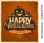 happy halloween pumpkin message ... | Shutterstock .eps vector #218615731