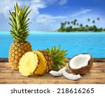 fresh pineapple and coconut in... | Shutterstock . vector #218616265